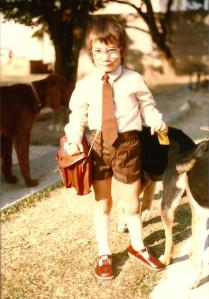 Brad, ready for his first day at Big School, Lechwe Primary 6 Sept 1981.