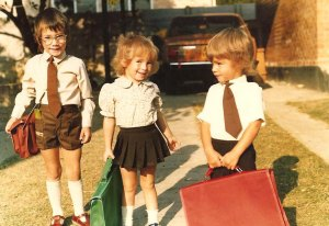 The trio, on Brad's first day at Lechwe Primary. Would you look at the size of those school cases Vicki and Leon have!