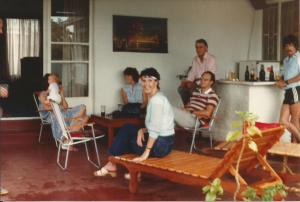 L - R. Karen & Christopher Heath, Jenny Coote, Miari & Ken Cummins. Standing at the bar John McConkey with his dad Mac seated at the bar on the left.
