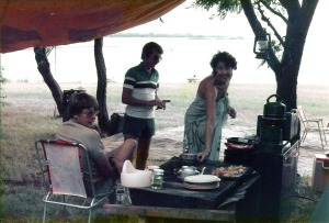 The camp kitchen, Mulungushi. Ken, Ziggy and Miari.