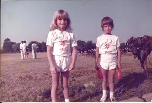 Vicki and Leon, Sports Day at Lechwe. 1984.
